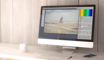 desktop computer photo edit