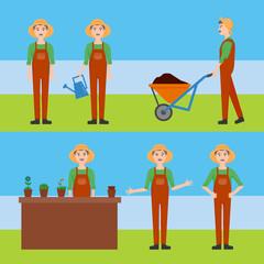 Gardener vector illustration set