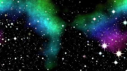 Colored nebula on night sky with shinning stars.