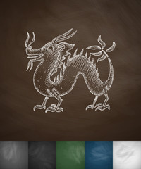 dragon icon. Hand drawn vector illustration