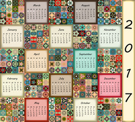 Calendar 2017. Vintage decorative colorful elements. Ornamental patchwork oriental pattern, vector illustration.