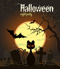 Halloween black cat and other characters on old cemetery and yellow Moon background, vector illustration. Halloween night party poster.
