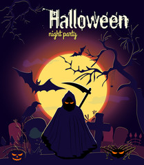 Halloween reaper and other characters on old cemetery and yellow Moon background, vector illustration. Halloween night party poster.