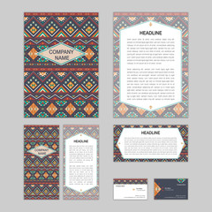 Set of abstract corporate templates. Ethnic boho seamless patter