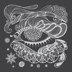 Abstact doodle floral highly detailed hand drawn for decorative design or pattern,