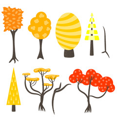 Vector tree clip art nature set. Forest autumn fall yellow red trees in flat style on white.