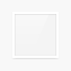 Simple clean white square vector photo frame blank empty template
