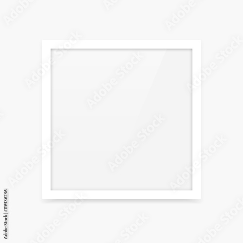 Simple clean white square vector photo frame blank empty template ...