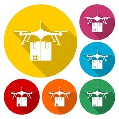 Package Delivery Drone, Drone delivery isolated vector colored icon