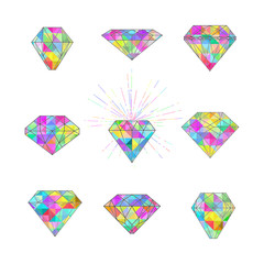 Set of polygonal mosaic diamonds