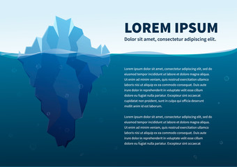 Big iceberg in the sea, concept illustration with text, a4 size template