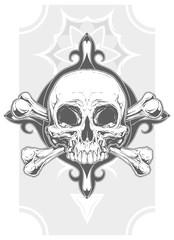 Grey human skull with two bones tattoo