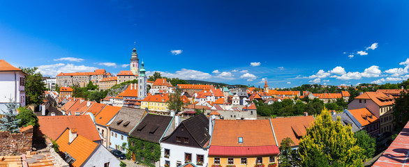 View of castle and houses in Cesky Krumlov, Czech Republic