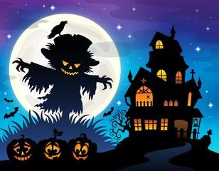 Halloween scarecrow silhouette theme 1