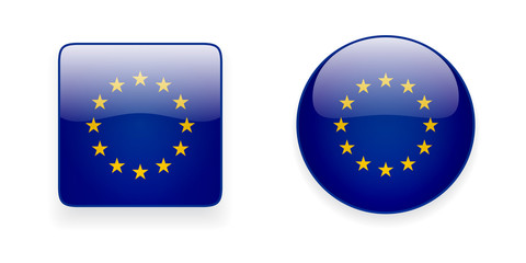 The European Union flag vector icon set. Shiny round icon and square icon with Europe flag on white background.