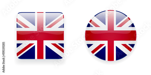 The Union Jack flag vector icon set. Glossy round icon and square ...