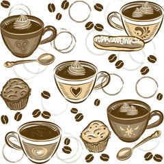 Seamless Coffee Pattern. Vector illustration.