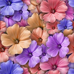 Colorful background with Geranium flower. Seamless pattern.