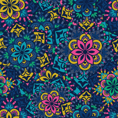 Fotorolgordijn Marokkaanse Tegels Seamless pattern. Vintage decorative elements.