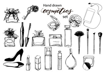 Hand drawn collection of make up and cosmetics. Vector illustration.