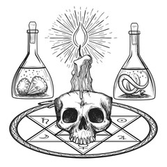 Skull with candle hand drawn alchemy occult elements from dark ages vector illustration