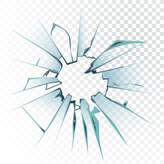 Accidentally broken frosted window pane or vector illustration