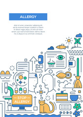 Allergy - line design brochure poster template A4