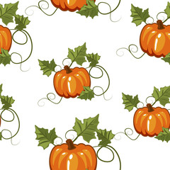 Autumn seamless pattern with pumpkin and stems for texture, gift wrapping, invitation for Halloween or Thanksgiving