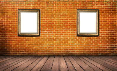 Blank wood frame on red brick wall background