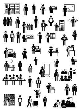 Piktogramme zum Thema Berufs- und Arbeitswelt