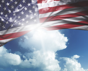 USA flag on a beautiful day