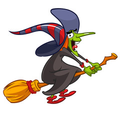 Vector illustration of cartoon girl dressed in a witch costume for Halloween and riding a broomstick