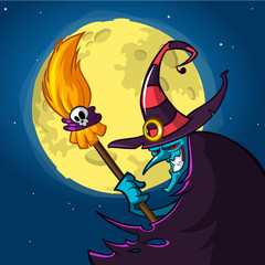 Halloween blue witch in hat with a broom isolated on night background with moon. Vector illustration