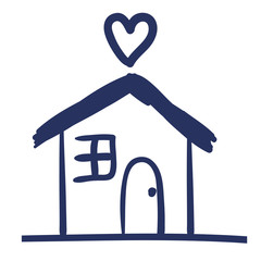 house and heart drawing isolated icon vector illustration design