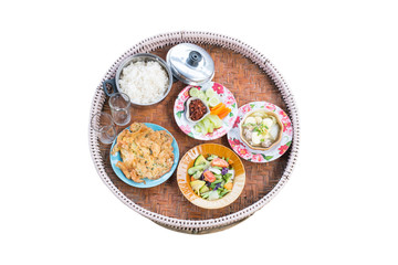 Set of Thai food on white background with clipping path