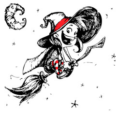 Halloween postcard with cute witch flying on her broom outlines. Vector illustration. Hand drawn
