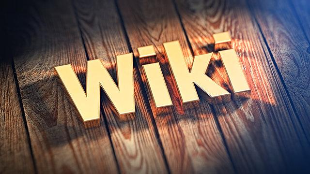 Word Wiki on wood planks