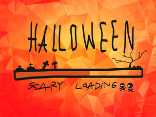 Halloween loading illustration on orange abstract background