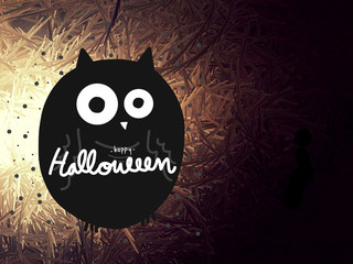 Wall Mural - Halloween owl on light grunge abstract background