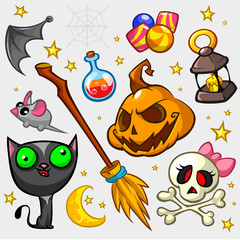 Collection of Halloween pumpkin and attributes for decoration. Witch cat, mouse, bat wing, candies, pumpkin, poison bottle, broom, skull and lantern icons. Halloween icon set