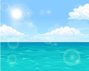 Sea and sun landscape horizontal