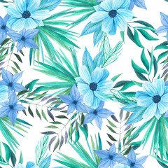 Watercolor tropical floral seamless pattern