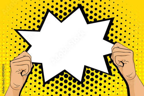 u0026quot pop art background with male hands holding speech bubble