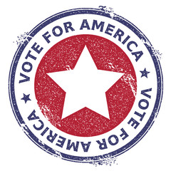 Grunge US patriotic stars rubber stamp. USA presidential election patriotic seal with US patriotic stars silhouette and Vote For America text. Rubber stamp vector illustration.