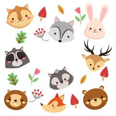 flat design forest animals pattern icon vector illustration