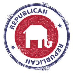 Grunge broken republican elephants rubber stamp. USA presidential election patriotic seal with broken republican elephants silhouette and Republican text. Rubber stamp vector illustration.