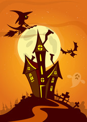 Scary Halloween house on night background with a full moon behin
