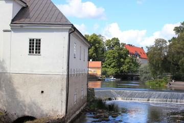 Altstadt und Fluss Fyrisan in der Stadt Uppsala in Schweden