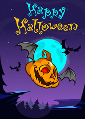 Cartoon Halloween flying pumpkin isolated on dark night background with a big full moon behind. Vector banner or poster for party