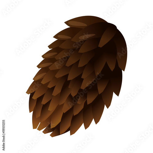 """flat design single pine cone icon vector illustration ..."